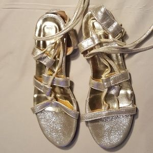 Shoes - Strappy Silver Sandals - Size 10